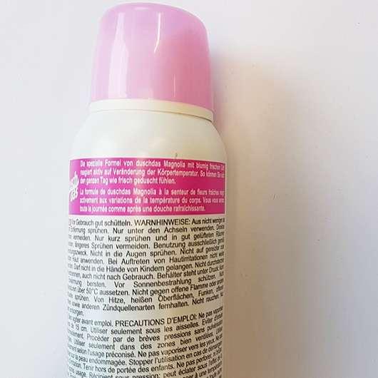 duschdas Magnolia Anti-Transpirant Deo Spray - Herstellerangaben