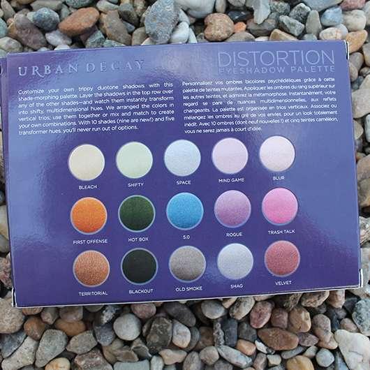 Verpackungsrückseite - Urban Decay Distortion Eyeshadow Palette