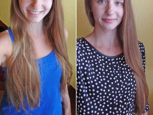 Haare zu Testbeginn (links) / Haare nach 4-wöchigem Test der alverde Glanz Haarpflege Serie (rechts)