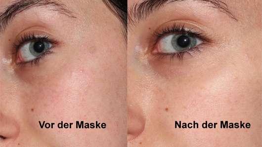 CHIARA AMBRA Happy Macarons Blueberry Tuch-Maske - Haut vor und nach der Anwendung