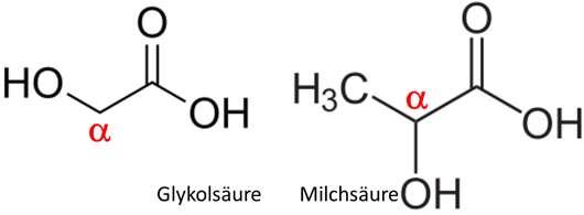Abbildung 1: Strukturformeln von Glykolsäure und Milchsäure, zwei gängige AHAs