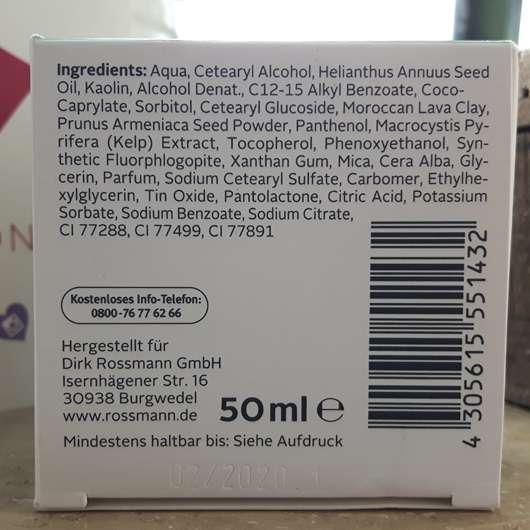 Rückseite - ISANA Tonerde Maske Algen-Extrakt
