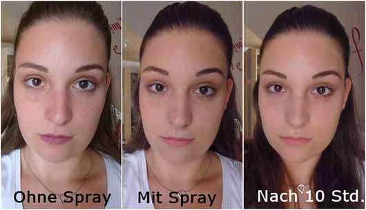 KISS Professional New York Makeup Setting Spray (Oil Free) - Gesicht ohne, mit Spray und nach 10 Stunden