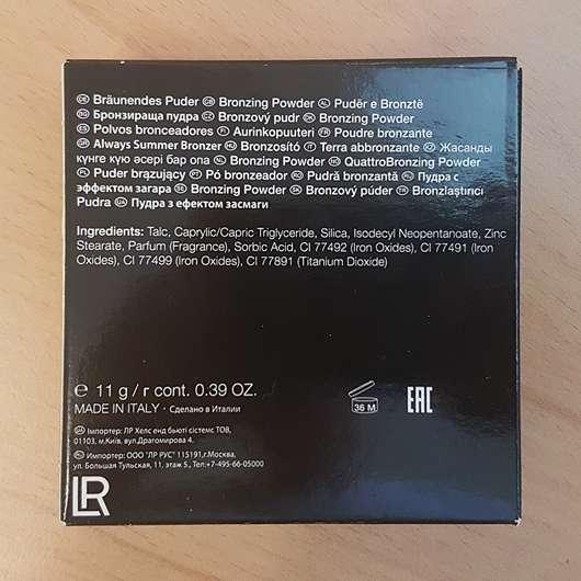 LR Deluxe Sun Dream Bronzer - Verpackung Rückseite