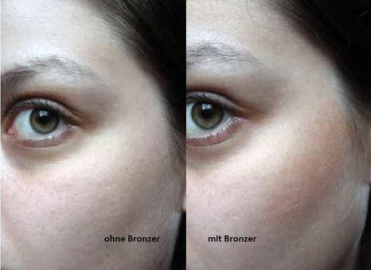 Mary Kay Bronzing Powder - ohne und mit Bronzer im Gesicht