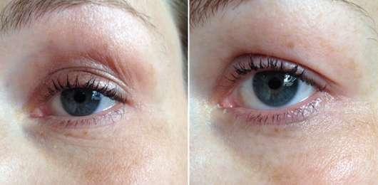 Auge vor (links) und nach (rechts) Verwendung des Pixi Rose Cream Cleansers