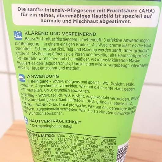 Balea Porenfein Reinigung Peeling Maske (normale und Mischhaut) - Herstellerangaben zur Anwendung