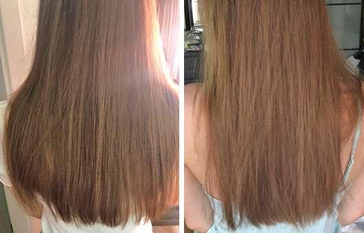 Haare vor dem Test (links) und nach 4 Wochen (rechts) - alverde Glanz Sprühkur Bio-Rohrzucker