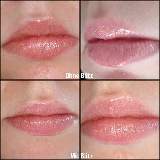 Lippen nach dem Auftragen, ohne Blitz (oben) und mit Blitz (unten)