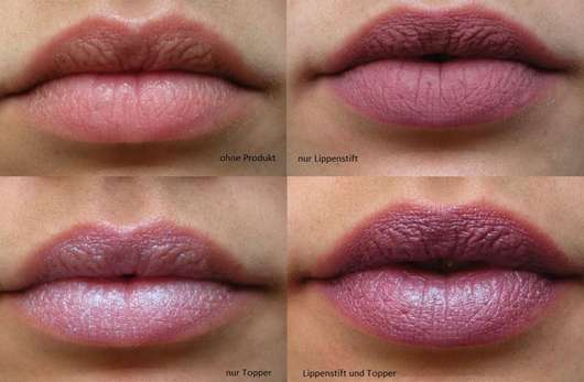 Lippen ohne/mit AVON mark. Epic Transformer Lipstick, Farbe: holograFX