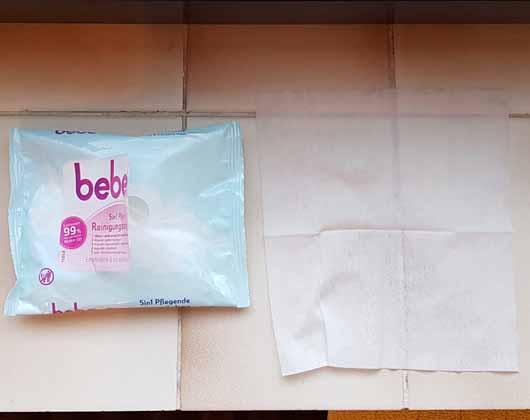 bebe 5in1 pflegende Reinigungstücher - Öffnung und Tuch