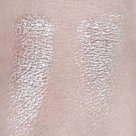 Bell HYPOAllergenic Waterproof Mousse Eyeshadow, Farbe: 01 shimmering copper - Swatches, rechts mit Base