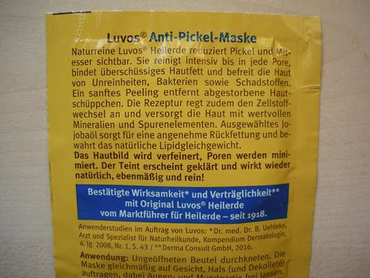 Verpackungsrückseite - Luvos Heilerde Anti-Pickel-Maske