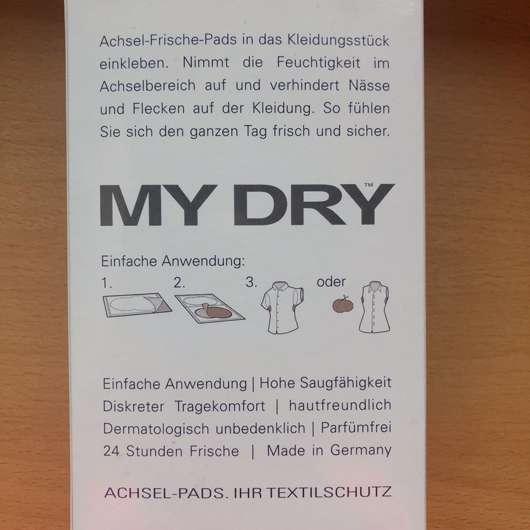 Verpackungsrückseite - MyDry Achselpads, Farbe: Weiß
