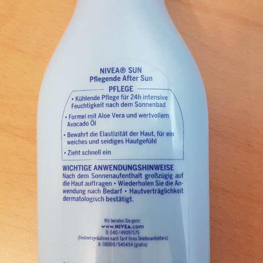 Verpackungsrückseite - Nivea Sun Pflegende After Sun Lotion