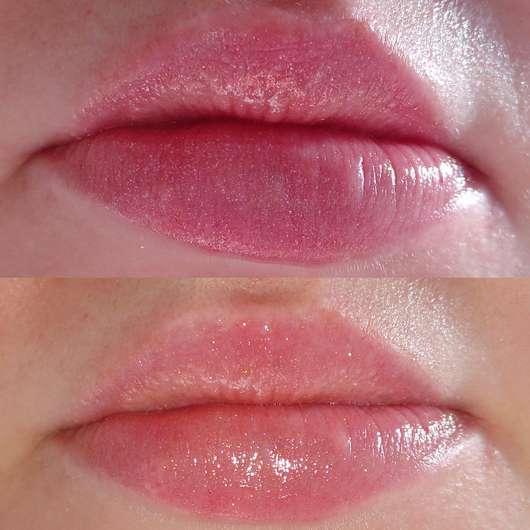 Lipgloss ohne Base, oben (ohne Blitz) und unten (mit Blitz) fotografiert