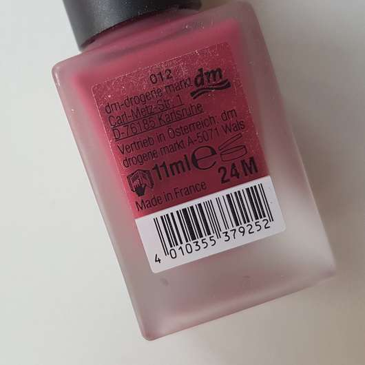 Verpackungsrückseite - trend IT UP Soft Matte Nail Polish, Farbe: 012