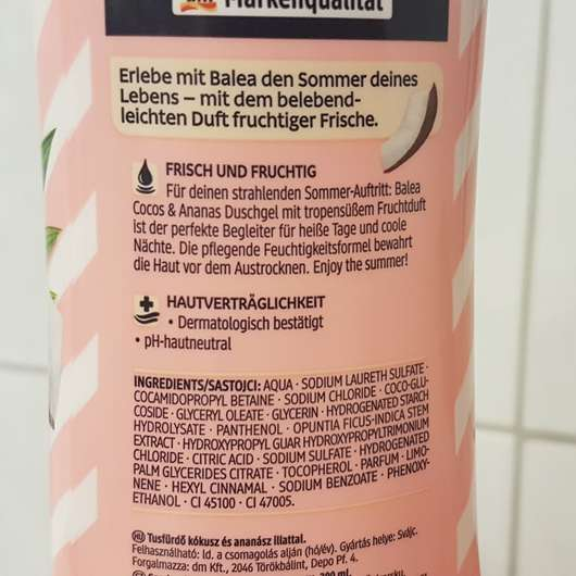 Verpackungsrückseite - Balea Duschgel Cocos Ananas (LE)