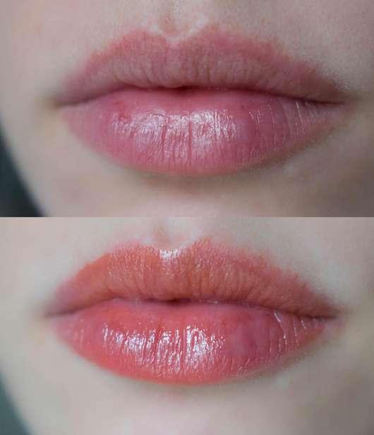 Lippen ohne/mit Elizabeth Arden Sheer Kiss Lip Oil, Farbe: 03 Coral Caress