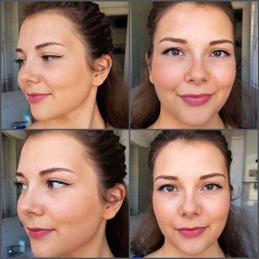 essence keep it perfect! make-up fixing spray - Gesicht mit Spray (oben) und ohne (unten)