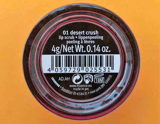 essence wanted: sunset dreamers lip peeling, Farbe: 01 desert crush (LE) - Tiegel Rückseite