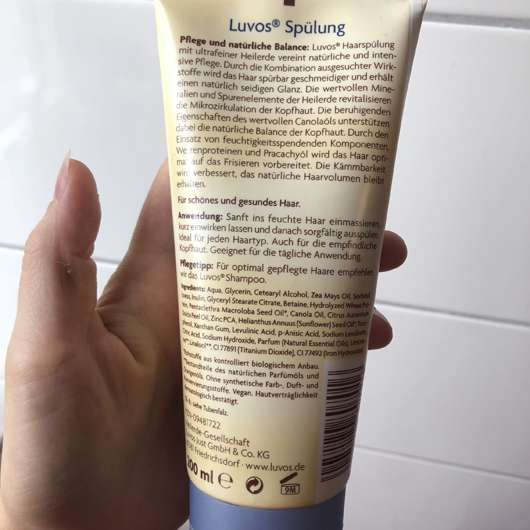 Verpackungsrückseite - Luvos Spülung (mit ultrafeiner Heilerde)