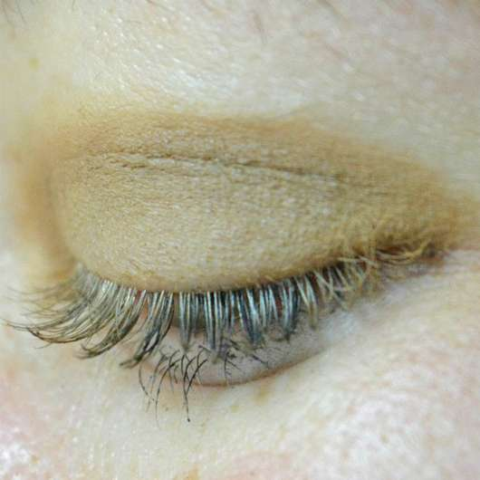 Lidschatten mit dem Pinsel auf das Auge aufgetragen