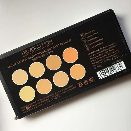 Makeup Revolution Ultra Professional Cover & Conceal Palette, Farbe: Light - Verpackung Rückseite