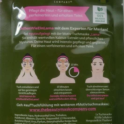 """Verpackungsrückseite - The Beauty Mask Company Motiv-Tuchmaske """"Lama"""""""