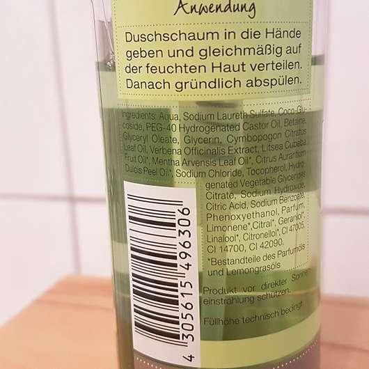 """Wellness & Beauty Duschschaum """"taufrisch belebt"""" - Flasche Rückseite"""