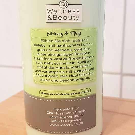 """Wellness & Beauty Körperfluid """"taufrisch belebt"""" - Flasche Rückseite"""