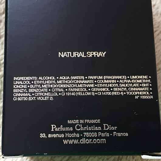 Dior Homme Intense Eau de Parfum - Inhaltsstoffe auf der Verpackung