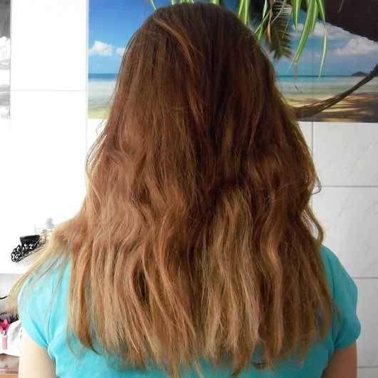 Garnier Wahre Schätze Argan-Mandelcreme Cremige Tiefenpflege-Maske - Haare vor der Anwendung