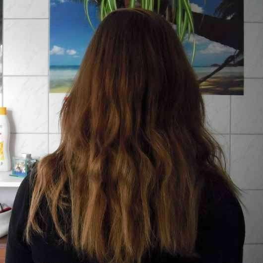 Garnier Wahre Schätze Argan-Mandelcreme Cremige Tiefenpflege-Maske - Haare nach der Anwendung