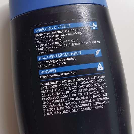 Verpackungsrückseite - ISANA MEN Duschgel Herbe Frische
