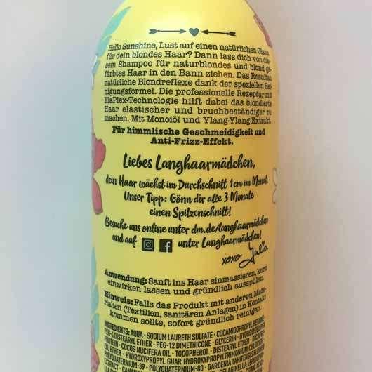 LANGHAARMÄDCHEN Angel Blond Shampoo - Flasche Rückseite