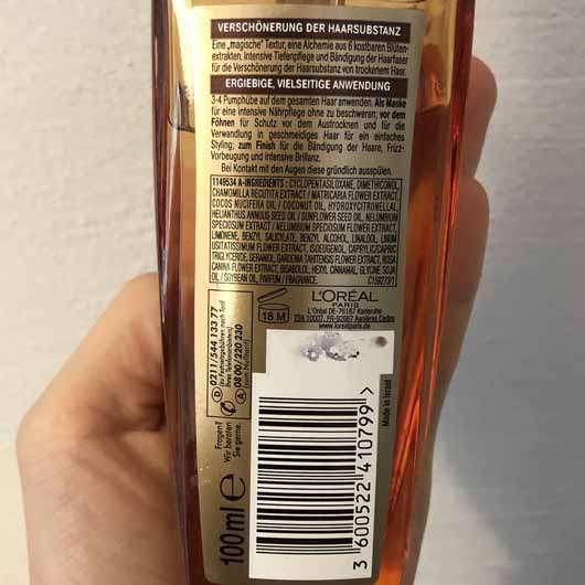 L'ORÉAL PARiS Elvital Öl Magique (für trockenes Haar) - Flasche Rückseite