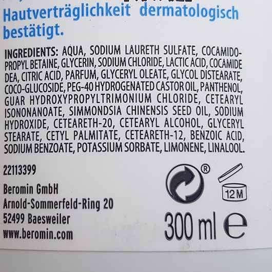 Ombia Soft & Seidig Duschcreme - Flasche Rückseite