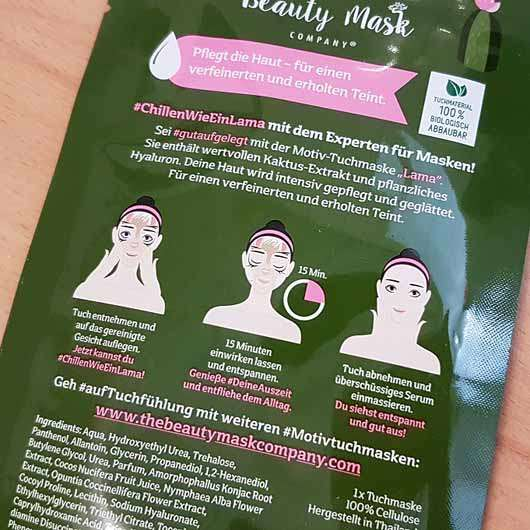 "The Beauty Mask Company Motiv-Tuchmaske ""Lama"" - Sachet Rückseite"