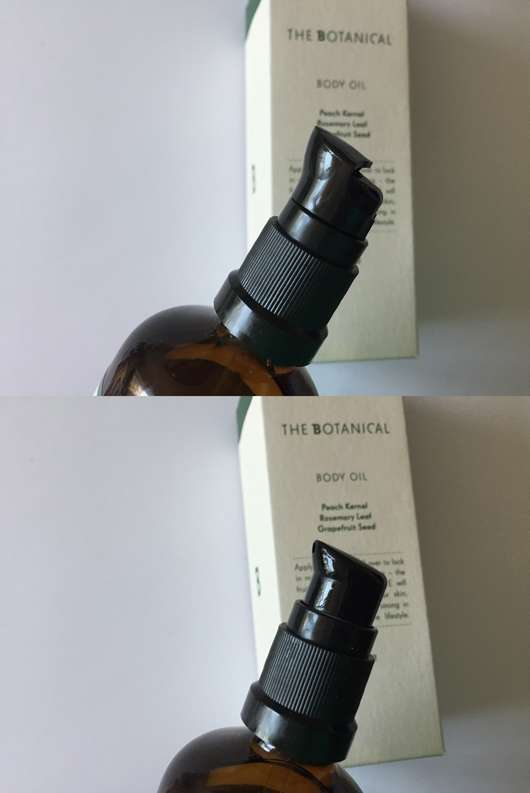 The Botanical Body Oil - Oben mit Schutzkappe // Unten ohne Schutzkappe