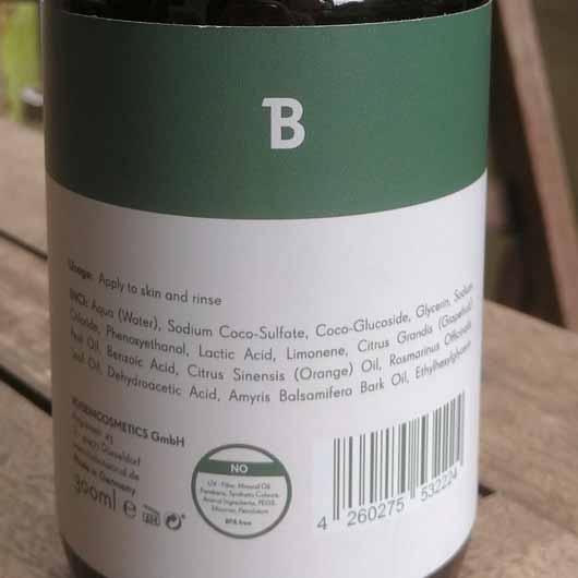 The Botanical Hand Wash - Flasche Etikett mit Inhaltsstoffen