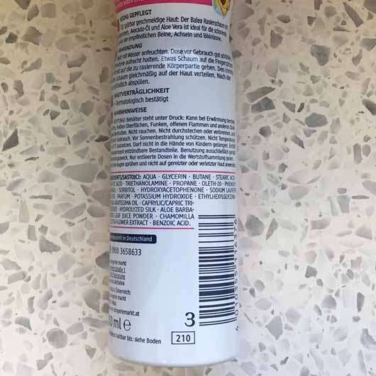 Balea Rasierschaum mit Seidenprotein & Avocado-Öl - Dose Rückseite