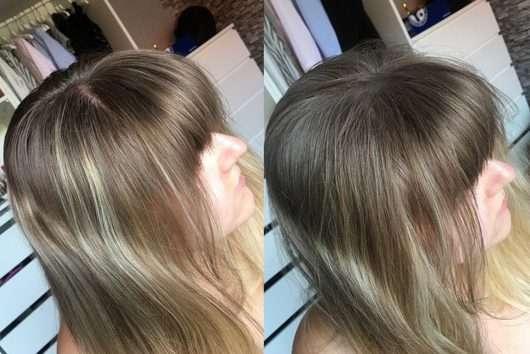 Vorher/Nachher (erste Anwendung mit weißen Rückständen)