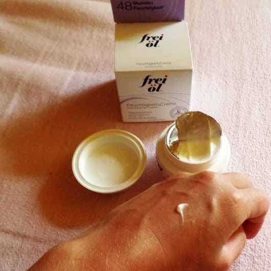 frei öl Hydrolipid FeuchtigkeitsCreme - Verpackung, geöffneter Tiegel und Konsistenz