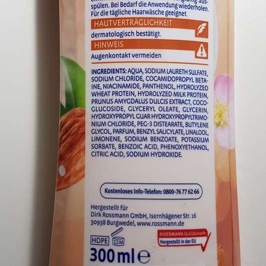 Verpackungsrückseite - ISANA Shampoo Mandelmilch