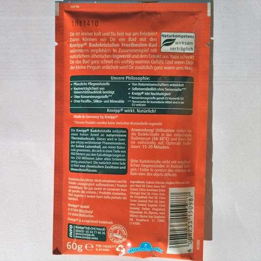 Verpackungsrückseite - Kneipp Badekristalle Frostbeulen-Bad Ingwer Yuzu
