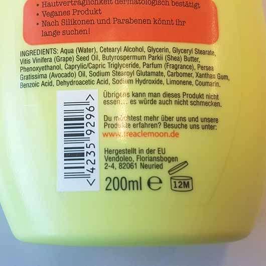 treaclemoon happy melon sorbet körpermilch - Flasche Rückseite