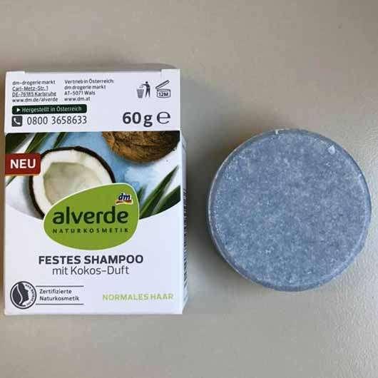 "alverde festes Shampoo ""Kokos"" - Verpackung und Shampoostück"