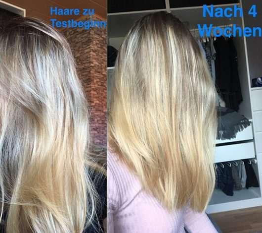 """alverde festes Shampoo """"Kokos"""" - Haare zu Testbeginn (links) und nach 4-wöchigem Test (rechst)"""