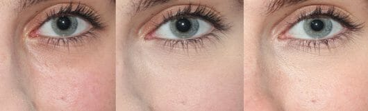 Augenpartie ohne Puder (links) // Puder direkt nach dem Auftrag (Mitte) // Puder nach 8 Stunden (rechts)